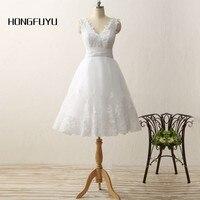 White V Neck Appliques Beading Sleeveless Short Wedding Dresses 2016 A Line Off The Shoulder Lace