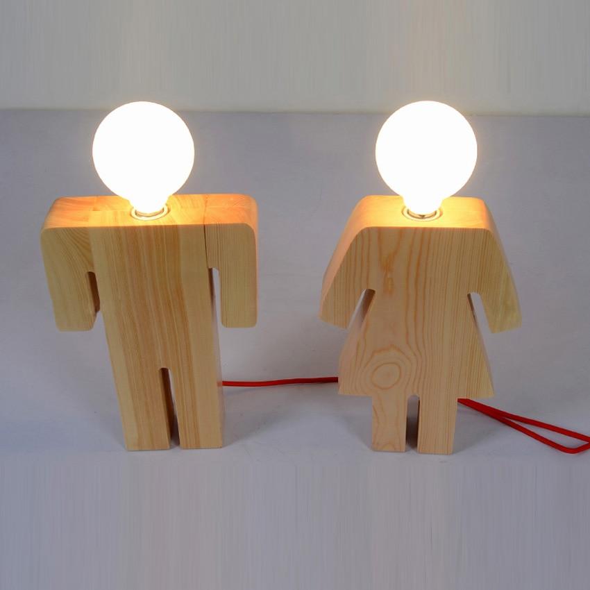 Modern Design Boy & Girl Desk light Wood base E27 110V 220V table light desk lamp for living room/bedroom home decoration
