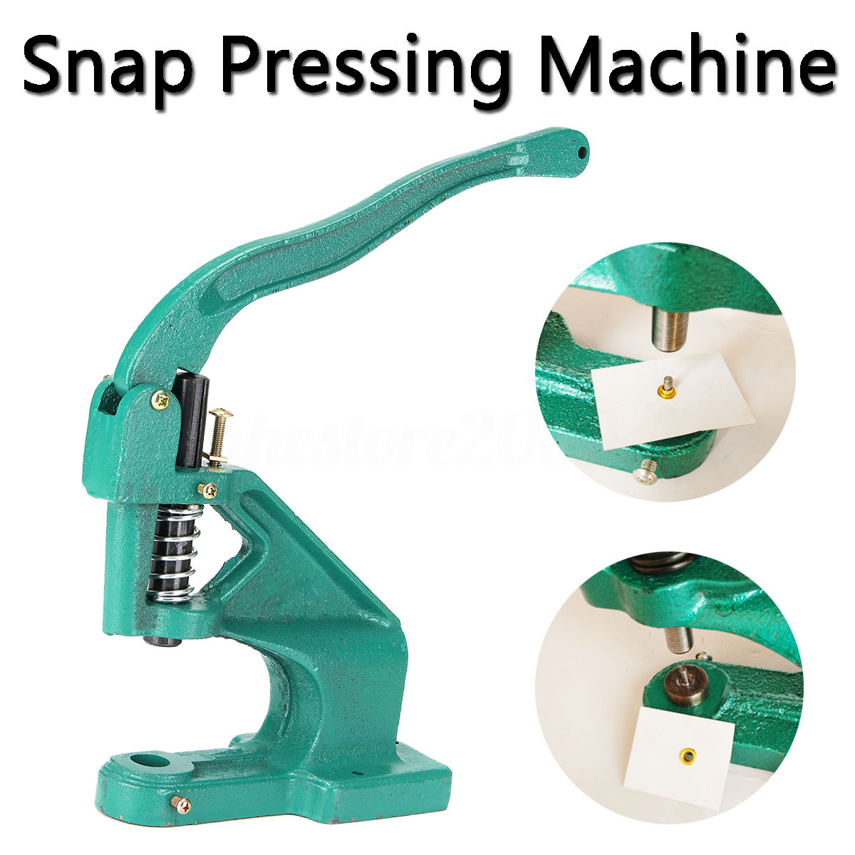 1Pc Manual Hand Pressure Snap Pressing Machine Clamp Snap Clip On Tool Metal Green HPressing Button Machine