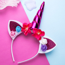 Girls' Colorful Unicorn and Flowers Hairband