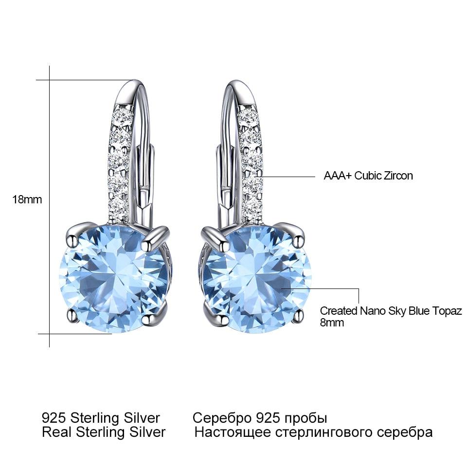 Image 5 - UMCHO Real 925 Sterling Silver Clip Earrings For Women Gemstone Sky Blue Topaz Female Earrings Round Wedding Valentine's Jewelry-in Earrings from Jewelry & Accessories