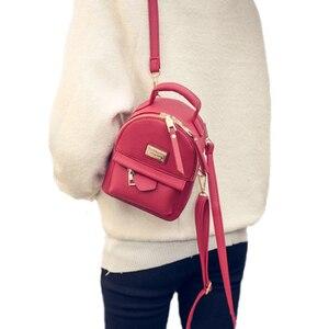 Image 3 - 女性のバックパックショルダーバッグ女性メッセンジャーミニ · スモールバックパックカレッジ風puレザーシンプルなレトロレジャー黒バッグホット販売