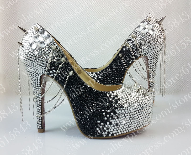 Free shipping red bottom glitter spikes high heels spikes prom shoes with silver and black rhinestones spikes evening pumps 2015 sexy women black rhinestone rivet high heels wedding party prom shoes with silver spikes rivet pumps free shipping