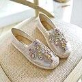 Соломы Рыбак Обувь Класса Люкс Bright Crystal Квартиры Женщины Мокасины Мягкие Одиночные Ботинки Удобные Ленивый Обувь Горный Хрусталь Квартиры