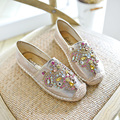 Straw Fisherman Shoes Luxury Bright Crystal Flats Women Loafers Soft Single Shoes Comfortable Lazy Shoes Rhinestone Flats