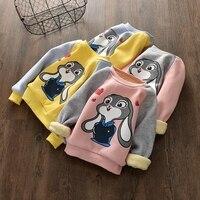Winter Children Girls Clothing Casual Kids Velvet Tops Costume Long Sleeve T Shirt For Girls Sweatshirt