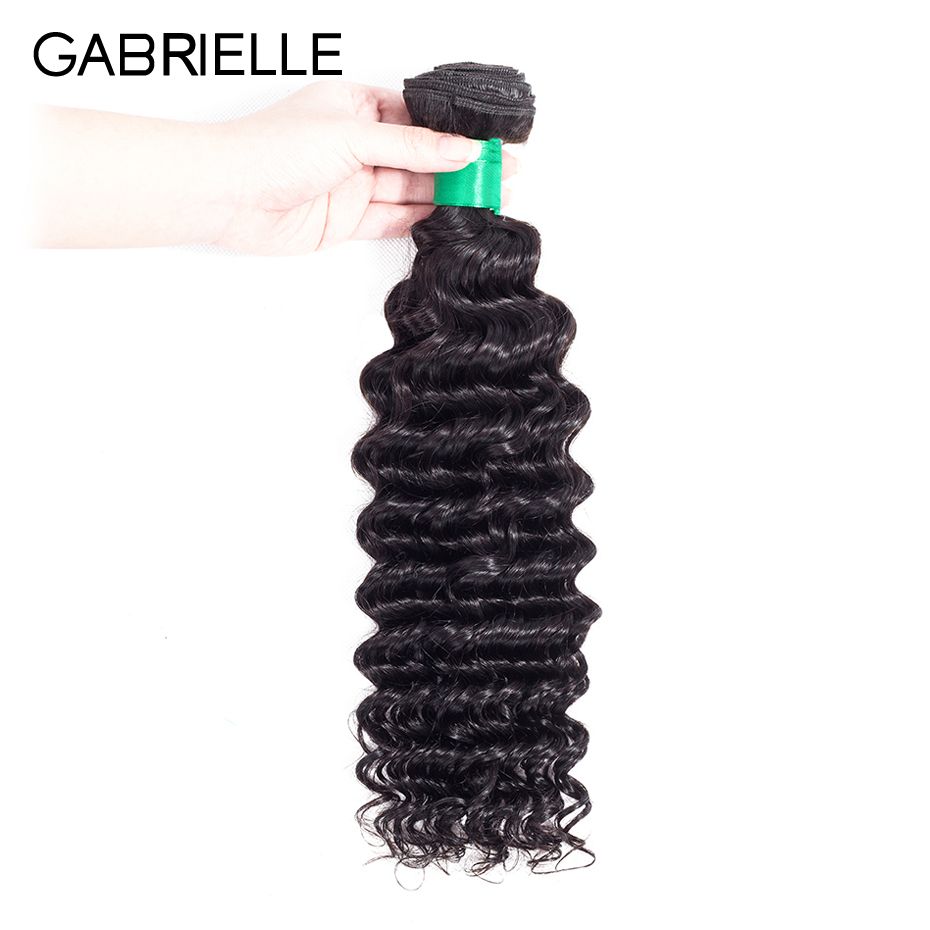 Gabrielle Indian Deep Wave Human Hair Weave Bundles 1 Piece 8-26 inch Natural Color Non  ...