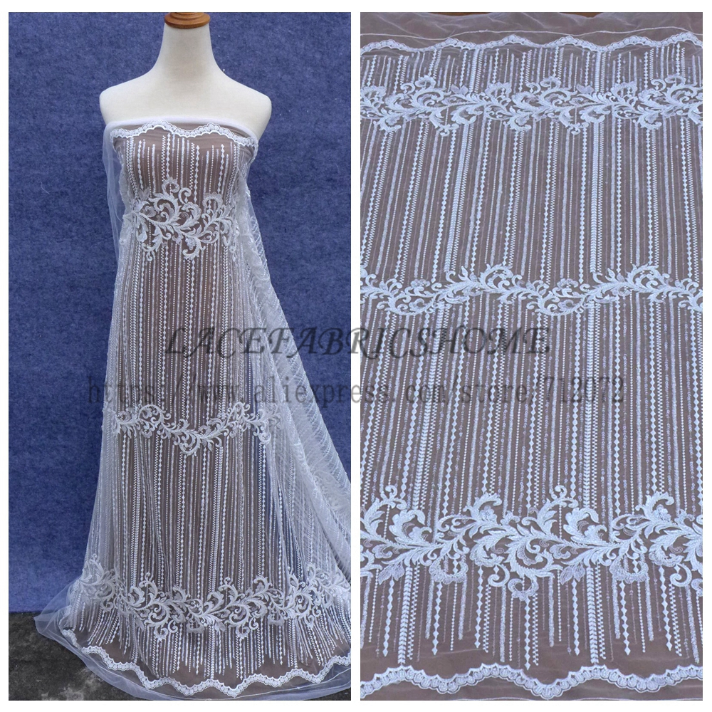 La Belleza New Off white beading seqiuns wedding dress lace fabric 51 width ...