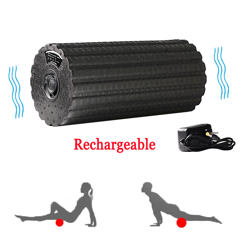 Adjustable Electric Vibration Massage Yoga Column Foam Roller Muscle Recovery Massager Fitness Electric Massage Stick Backrest