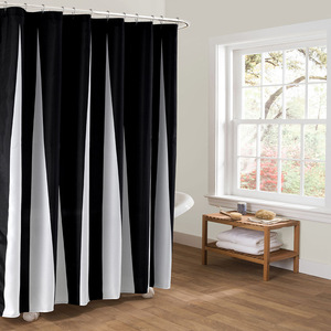 Image 2 - Modern Polyester duş perdeleri siyah beyaz çizgili baskılı su geçirmez kumaş banyo için çevre dostu ev otel kaynağı