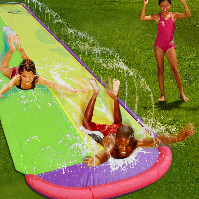 4.8 m géant Surf 'N Double toboggan aquatique pelouse toboggans pour enfants piscine d'été enfants jeux amusants jouets cour extérieure vague cavalier - 2