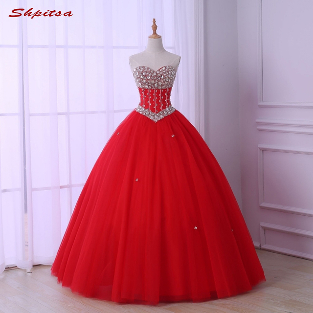 15488622f2 Puffy Red Quinceanera Dresses Tulle Sweet 16 Dresses Ball Gown Masquerade  Ball Gowns vestidos de 15 anos