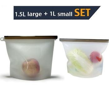 Sacs réutilisables de stockage de nourriture de Silicone pour le Sandwich, Sous Vide, liquide, casse-croûte, déjeuner, Fruit, organisateur de congélateur grand et petit