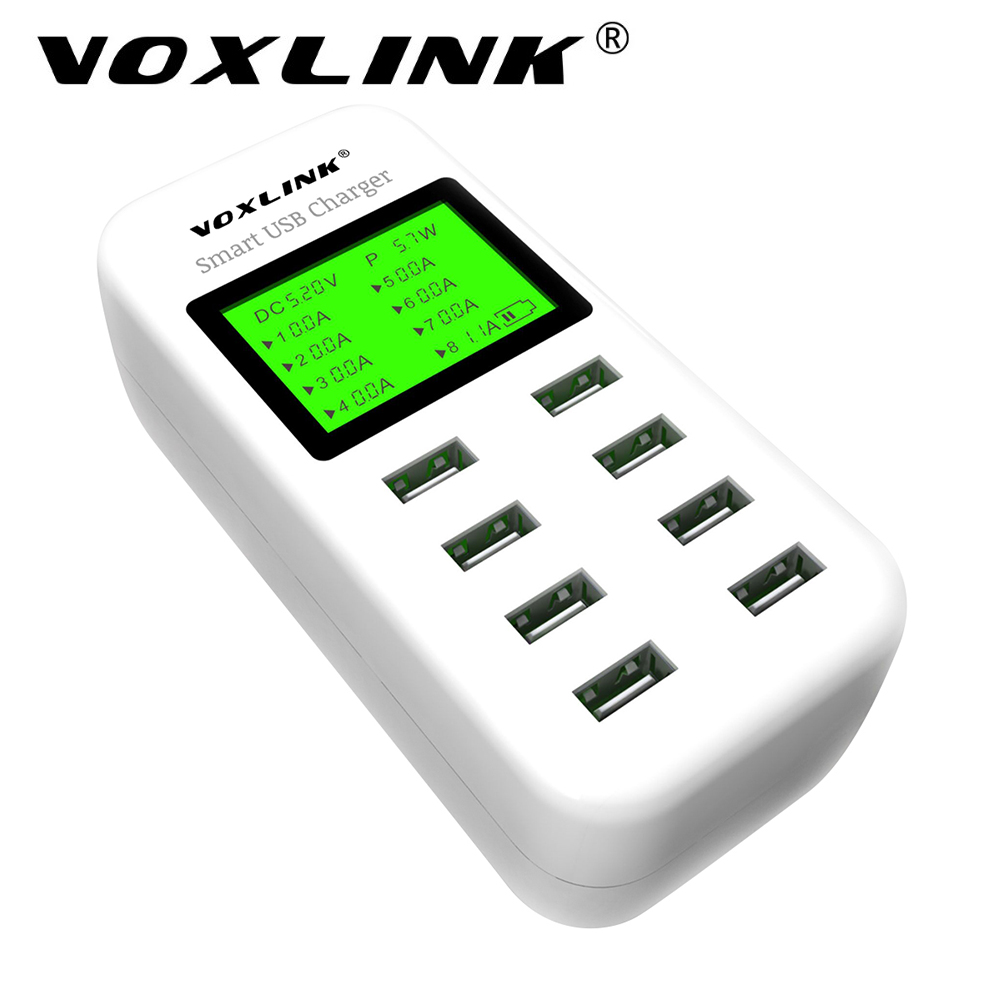 voxlink 8 port smart usb charger hub with lcd 40w multi port usb charging station usb wall. Black Bedroom Furniture Sets. Home Design Ideas