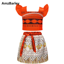 AmzBarley Moana Costume for Girls Fancy Party Dress Up Cosplay Sleeveless Birthday Little Kids Vaiana Costumes Set Outfits
