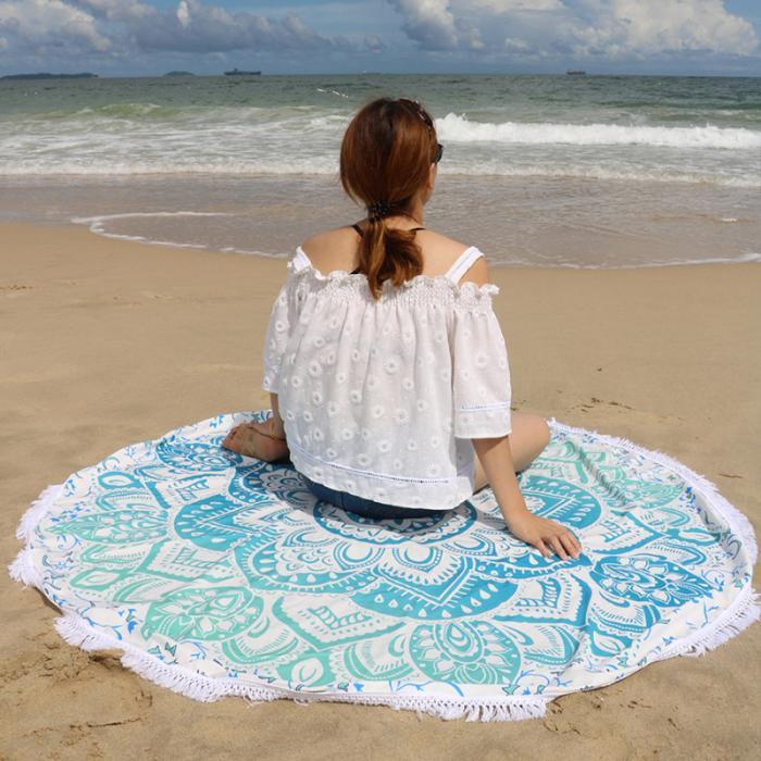 Beach Blanket No Sand: Aqua Lotus Flower Summer Round Beach Blanket With Tassel