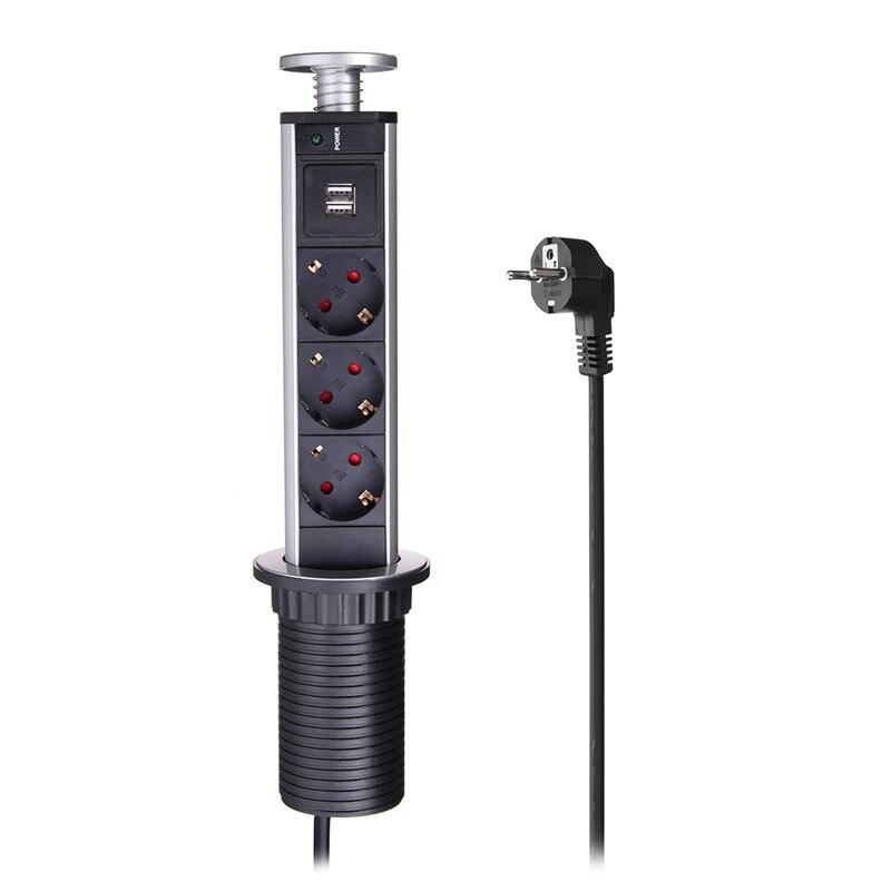 EU Plug Hidden Kitchen Table Pop Up Electrical Socket Power 1 Led+3/4/5/6 power+2 charge USB Aluminum Shelf Silver/Black Cap