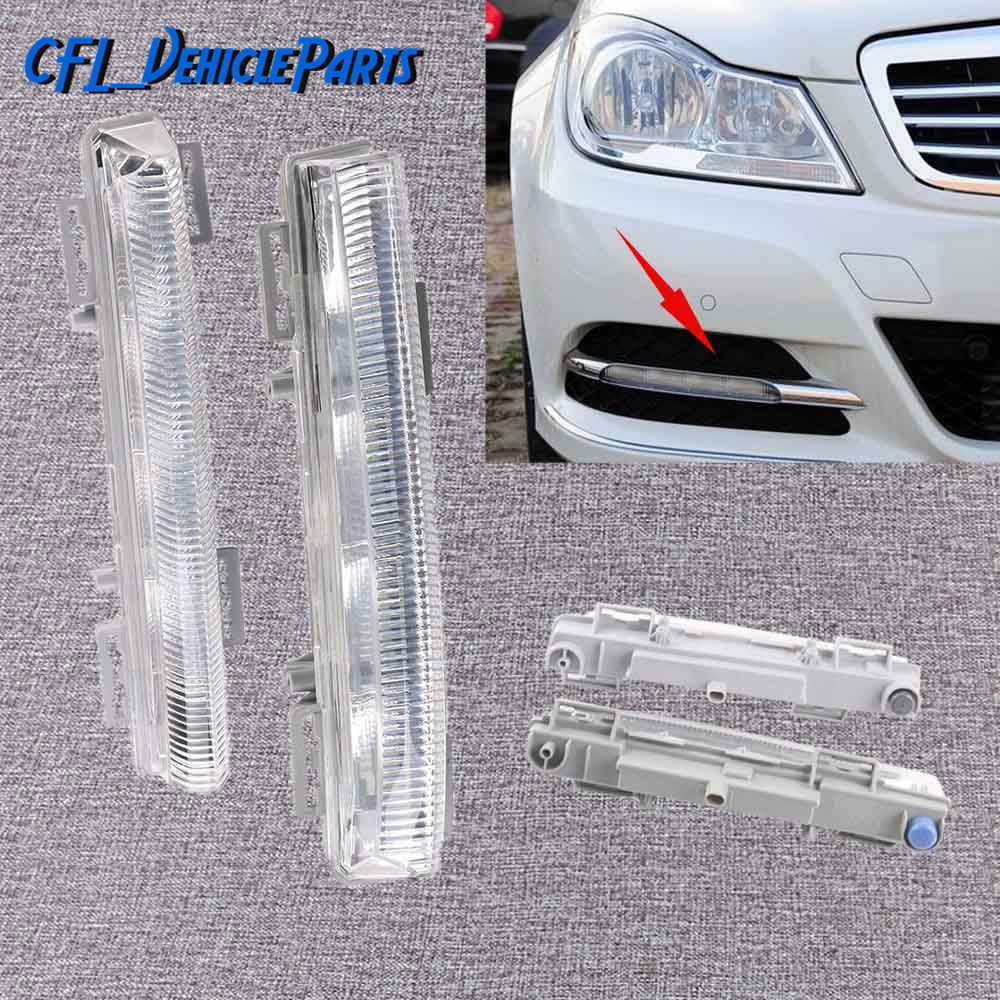 Pair Front Left+Right DRL Daytime Running Lamp Fog Light 2049068900 2049069000 For Mercedes-Benz W204 S204 R172 C350 W212 <font><b>2012</b></font> image