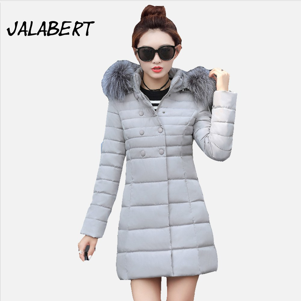 2017 new winter cotton coat women Hooded big Fur collar long Slim jacket Female fashion Double breasted warm zipper Parkas