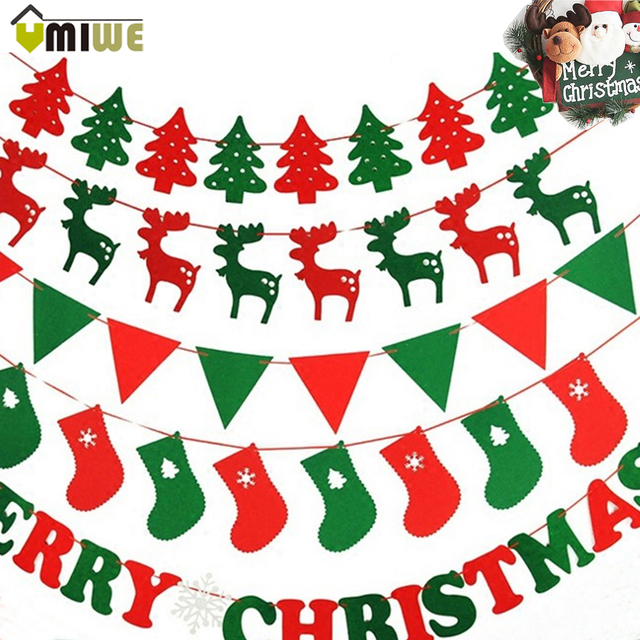 10pcs/Pack Merry Christmas Decoration Pull Flag Xmas Hanging Flag ...