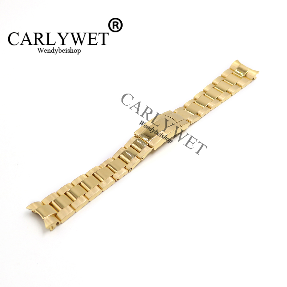 CARLYWET 20mm 316L Stainless Steel Gold Solid Curved End Screw Links Deployment Clasp Watch Wrist Band Strap Bracelet стоимость