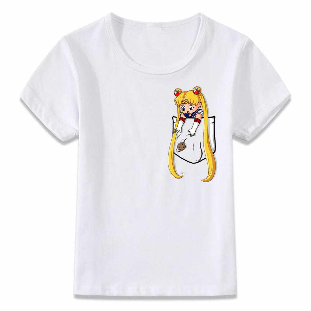 เด็กเสื้อยืดเซเลอร์มูนและจันทรคติแมวทีกระเป๋าเสื้อยืดและหญิงเด็กวัยหัดเดินTee