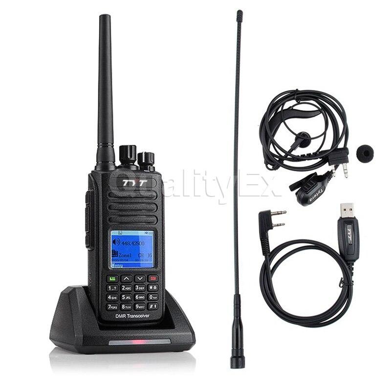 TYT MD 390 UHF 400 480 mhz IP67 Водонепроницаемый DMR цифровой двухстороннее радио Walkie Talkie 1000CH 2200 mAh MD390 с Кабель для программирования