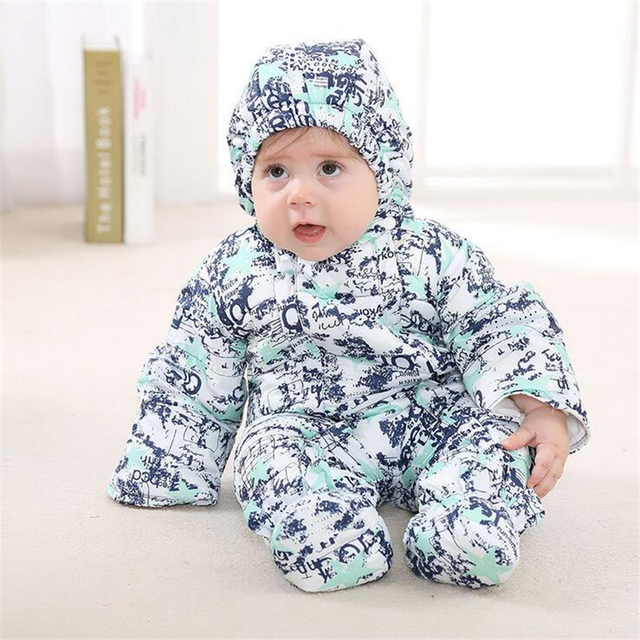 3 Cores Macacão de Bebê de Algodão Eiderdown Quente Romper Infantil Romper Com Capuz Macacão Crianças Snowsuit Crianças Outerwear Inverno 0-2 T
