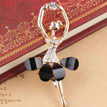 Free Shipping 10pcs/lot Gold Tone Plated Oil Drop 56*28mm Jewelry Bracelet Charms Rhinestone Crystal Ballet Girl Charm