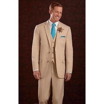 Senior two buttons pointed khaki groom dress wedding man suits business men suit 2018 casual Khaki gown mens suits khaki
