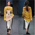 Женские Зимние осень Мультфильм девушка модель Блондинка желтый вязание свитера дамы с длинным рукавом пуловер женские основывая топы