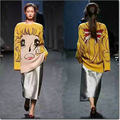 De la mujer otoño Invierno patrón de Dibujos Animados chica amarillo Rubio tejer suéteres pullover mujer de manga larga de las señoras de tocar fondo tops