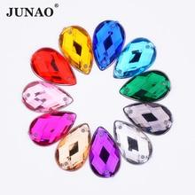 JUNAO 1000 個 8*13 ミリメートル縫うカラフルな滴ラインストーンアップリケヒラタアクリルラインストーンダイヤモンドミシンクリスタルストーン diy の工芸品