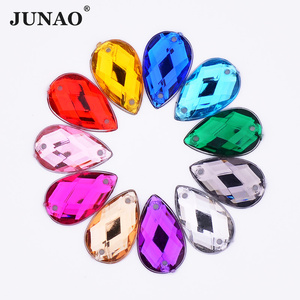 Image 1 - JUNAO 1000pcs 8*13mm Sew On Colorful Drops Rhinestone Applique Flatback Acrylic Strass Diamond Sewing Crystal Stone DIY Crafts