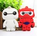 10pcs/lot high quality Big Hero 6 Baymax cartoon two-sided Soft Rubber Keychain Baymax Metal Key Chains Pendant Kids for Gift