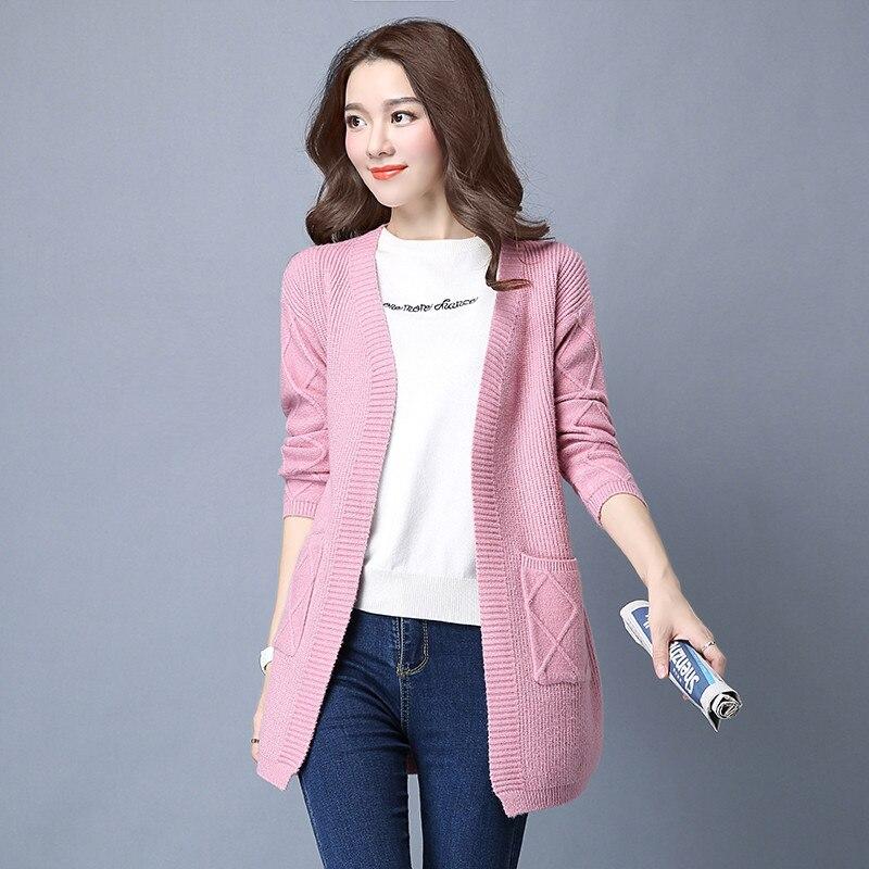 tops frauen pullover damen neue stricken 2017 mittellange strickjacke mantel Yagenzspringherbst jacke casual fest schlank mode QrCBohxtsd