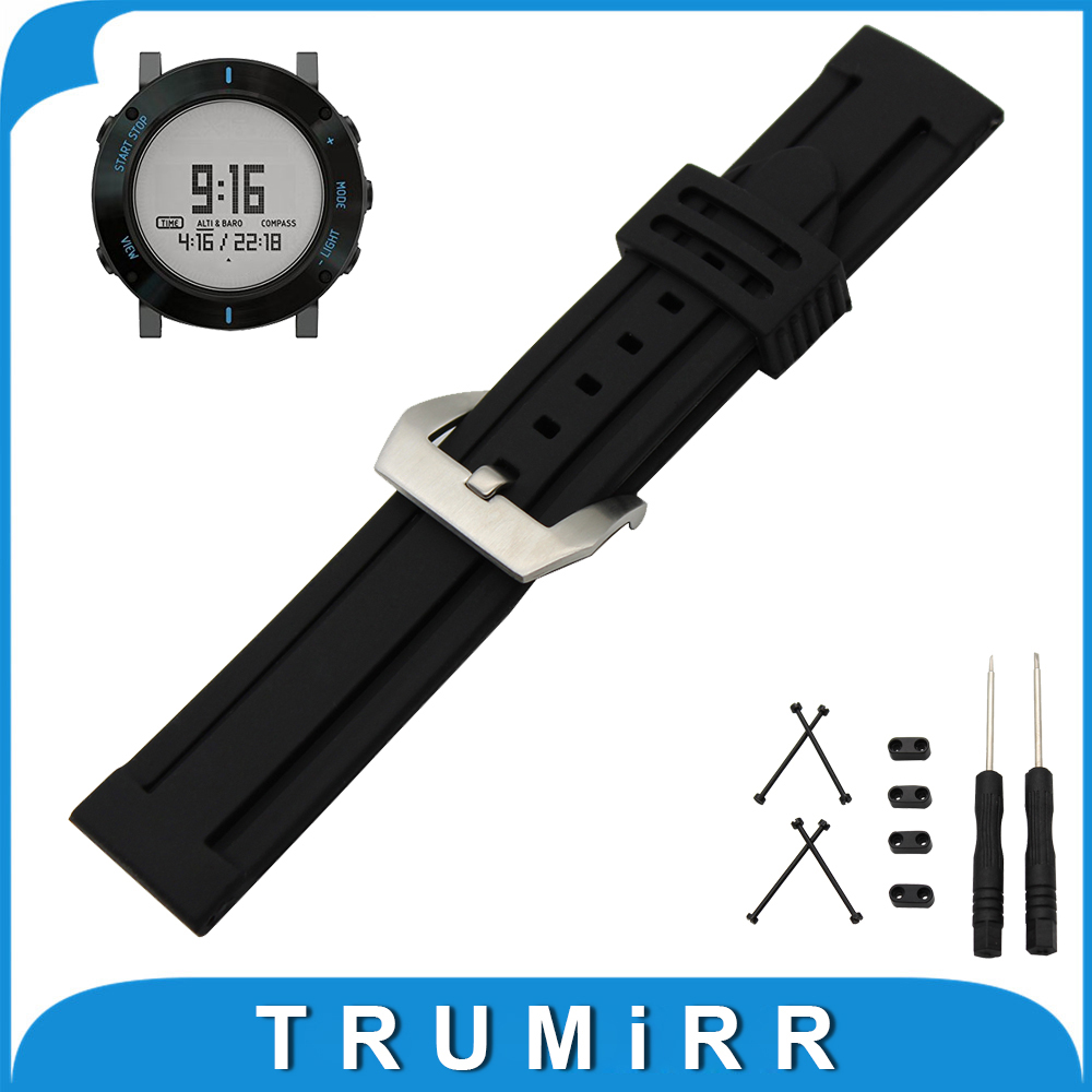 24mm Silicone Rubber Watch Band + Lug Adapter + Tool for Suunto Core Stainless Steel Pre-v Buckle Strap Wrist Belt Bracelet 24mm silicone rubber watch band tool for suunto traverse stainless steel pre v buckle strap wrist belt bracelet black