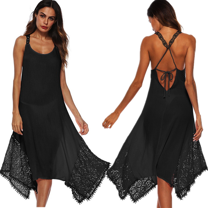 2018 Summer Beach Dress Plus Size 5XL Woman Sexy Solid Backless Boho Dress Back Cross Lace Elegant Club Party Dress Loose