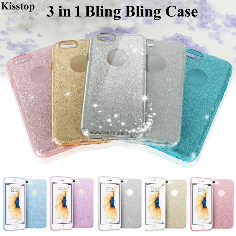 Kisstop 3 em 1 Cartão Bling Limpar PC Hard Case Telefone Para iPhone X 7 8 6 6 S Brilhando tampa traseira Para o iphone 6 6 s 7 8 Além de Coque Capa