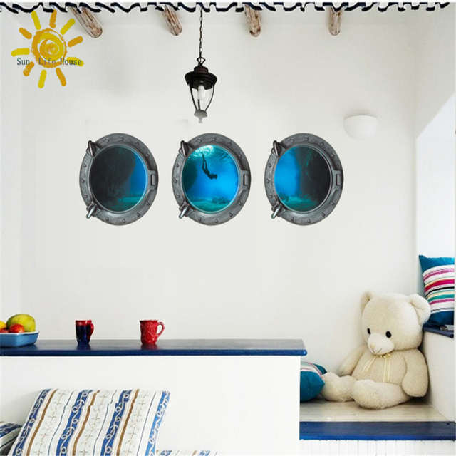 The New Living Room Bedroom Wall Stickers Decorative Home Furnishings Undersea Explorer Blue Wallpaper Muurstickers Home