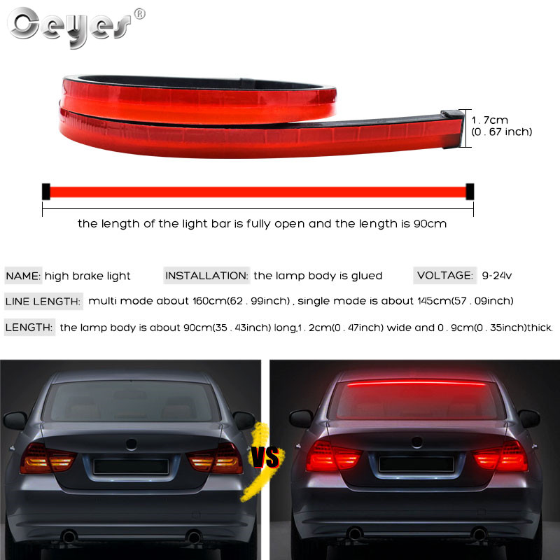 Ceyes Car Styling Universal 900mm Flexible Strip LED High Mount Stop Rear Tail Warning Lights Waterproof Brake Lamp Accessories in Signal Lamp from Automobiles Motorcycles