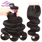 Soft Feel Hair Brazilian Body Wave Bundles With Closure Human Hair Bundles With Closure Remy Hair Weave 3/4 Bundles With Closure