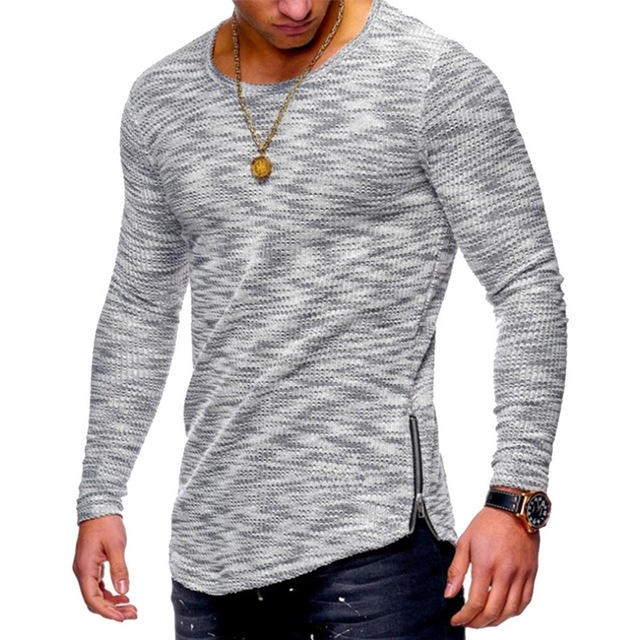Casual Slim Fit Printed Long Sleeve T-Shirt for Men
