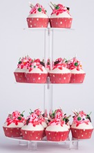 YestBuy 3 Tier Maypole Round  Wedding Party Tree Tower Acrylic Cupcake Display Stand With Base (3 (15cm gap )(13.8 Inches)