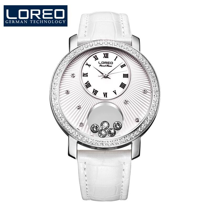 ФОТО LOREO Germany watch women luxury brand Austria Diamond quartz watch water resistant 5ATM white Leather belt relogio feminino