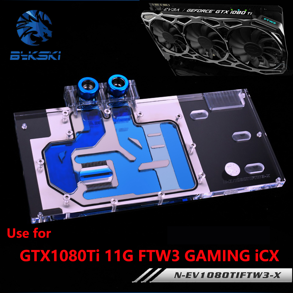 BYKSKI Water Block use for EVGA GTX1080Ti 11G FTW3 GAMING iCX / Full Cover Graphics Card Copper Radiator Block RGB bykski water block use for gigabyte gv n98txtreme 6gd gv n98txtreme w 6gd full cover graphics card copper radiator block rgb