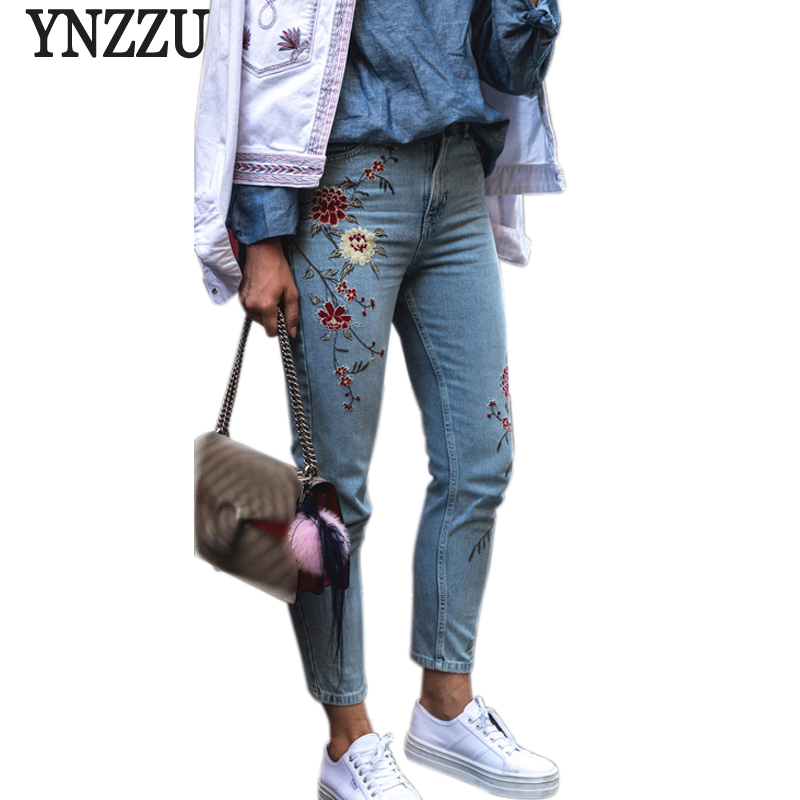 YNZZU Plus size flower embroidery jeans female Light blue casual pants 2017 Autumn straight jeans women bottom jeans femme YB050 flower embroidery jeans female blue casual pants capris 2017 spring summer pockets straight jeans women bottom a46