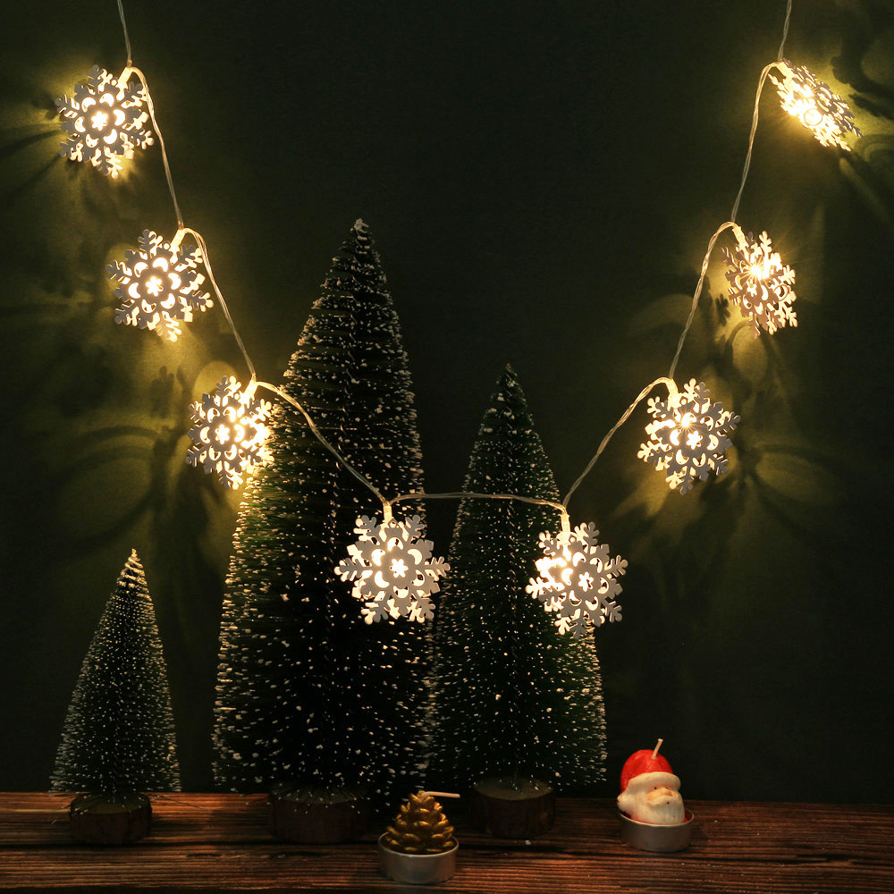 10led Christmas Tree String Garland Decoration Snowflake Christmas Led Lamp Wedding Home Garden Luminous Party Supplies M3