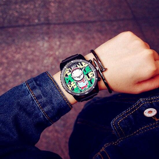 Fashion Graffiti Stylish Big Dial Rubber Strap Japan Core Quartz Analog Wrist Watch Hours Gift for Men Male Boy OP001 ...