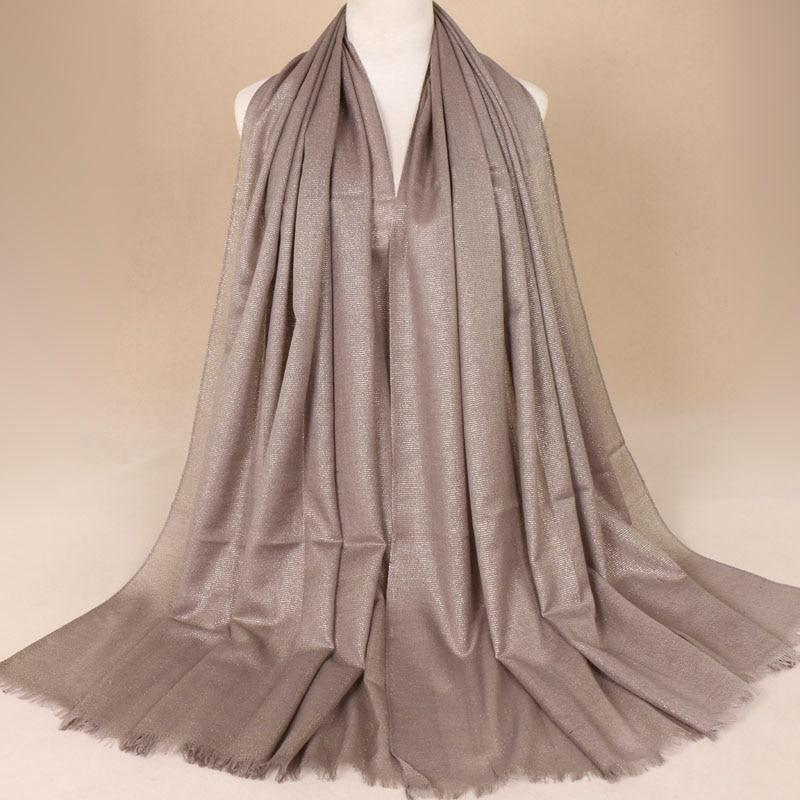 2019 Women Fashion Plain Lurex Glitter Viscose Scarf Shawl Solid Khaki Muffler Wrap Headband Muslim Hijab Echarpe Foulard Snood